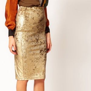 Metallic velvet pencil skirt